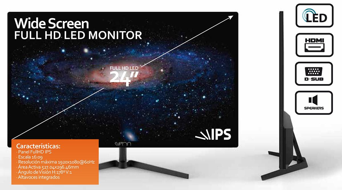 Monitor 24 pulgadas IPS FullHD LED Sveon STF242