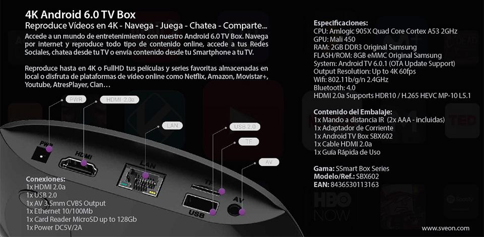 Sveon Sbx602  U2013 Android Tv Box 4k Compatible Con Netflix Y