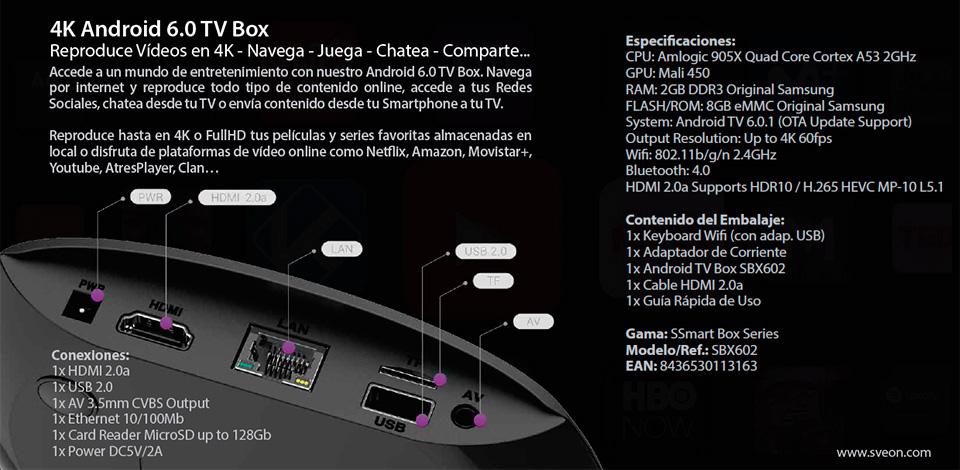 Android TV Box 4K con 2GB de RAM compatible con Netflix y